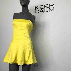 NBD Revolve Mini Dress Strapless Yellow 90s Skater